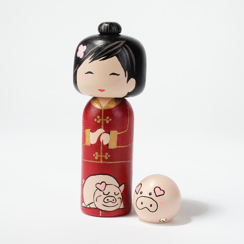 Chinese New Year - Year of the Pig Kokeshi Dolls | Kokeshi ...