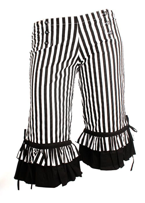 Black and white striped long legged bloomers and matching top