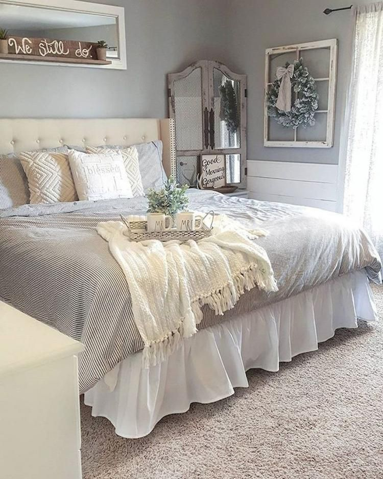50 Sleigh Bed Inspirations For A Cozy Modern Bedroom: 40+ Rustic Farmhouse Style Master Bedroom Inspirations