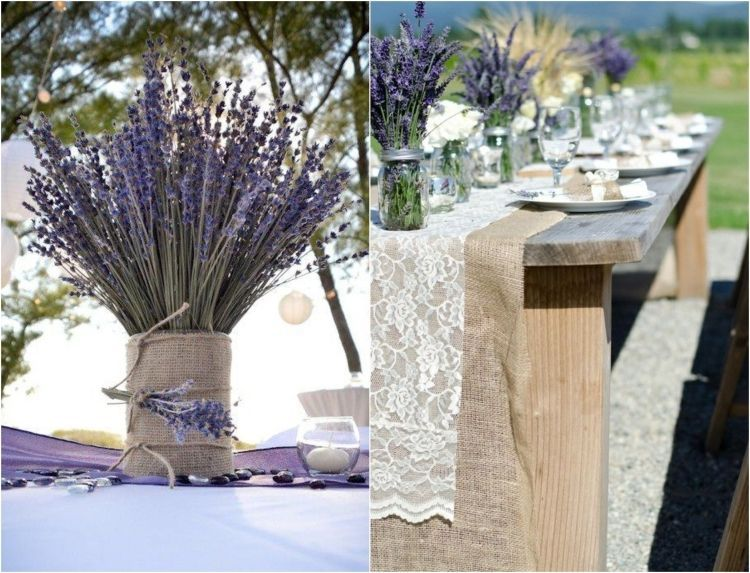 Lavande officinale 55 d corations de table mariage r ussies table rustique toile de jute et jute - Decoration table champetre jardin la rochelle ...