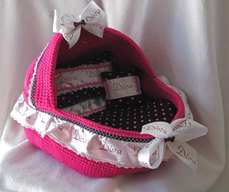e5cef8213 Designer, handmade, crochet, pink Diva dog bassinet Moses basket and quilt  set for small puppies and teacup and toy breed dogs like Maltese, ...