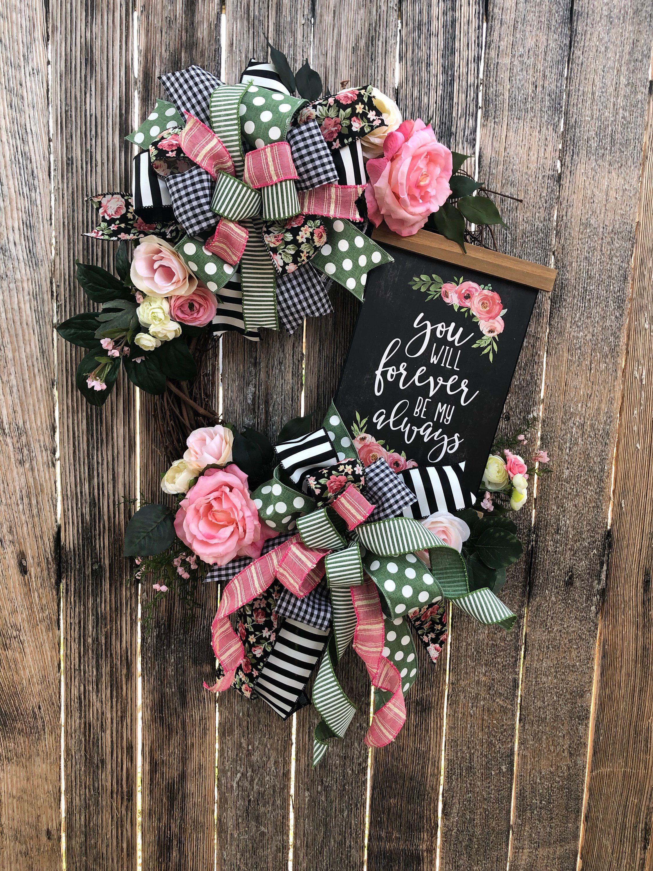Photo of Grapevine Wreath, Love Grapevine Wreath, Romantic Wreath, Floral Wreath