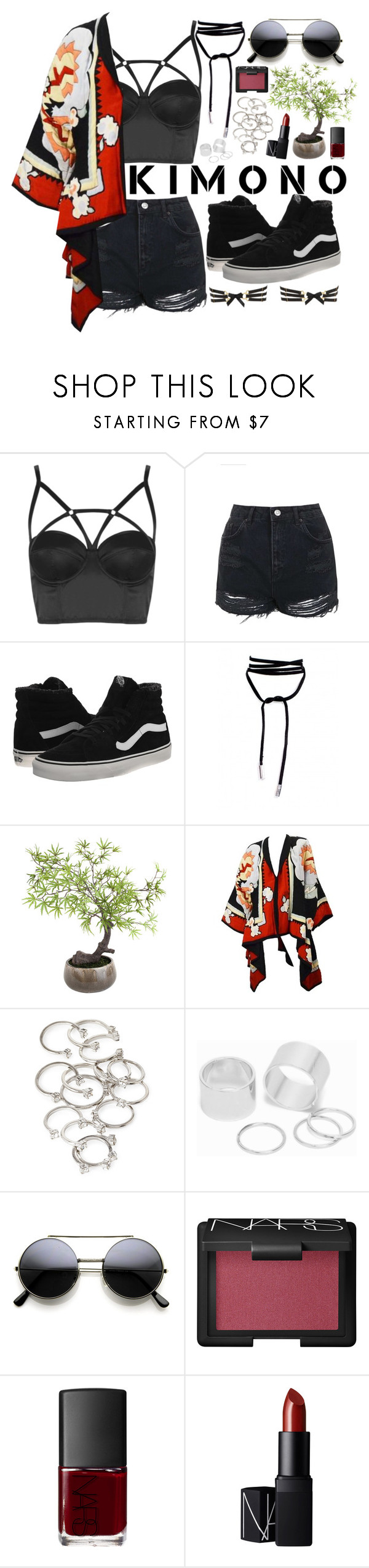 """Kimono."" by mxlewi ❤ liked on Polyvore featuring Topshop, Vans, Sia, Forever 21, Pieces, NARS Cosmetics and Bordelle"
