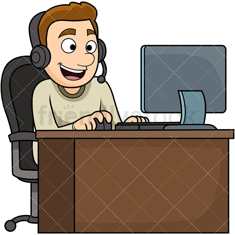 Man Wearing Headset Using Computer Cartoon Vector Clipart Friendlystock Cartoons Vector Play Computer Games Vector Illustration