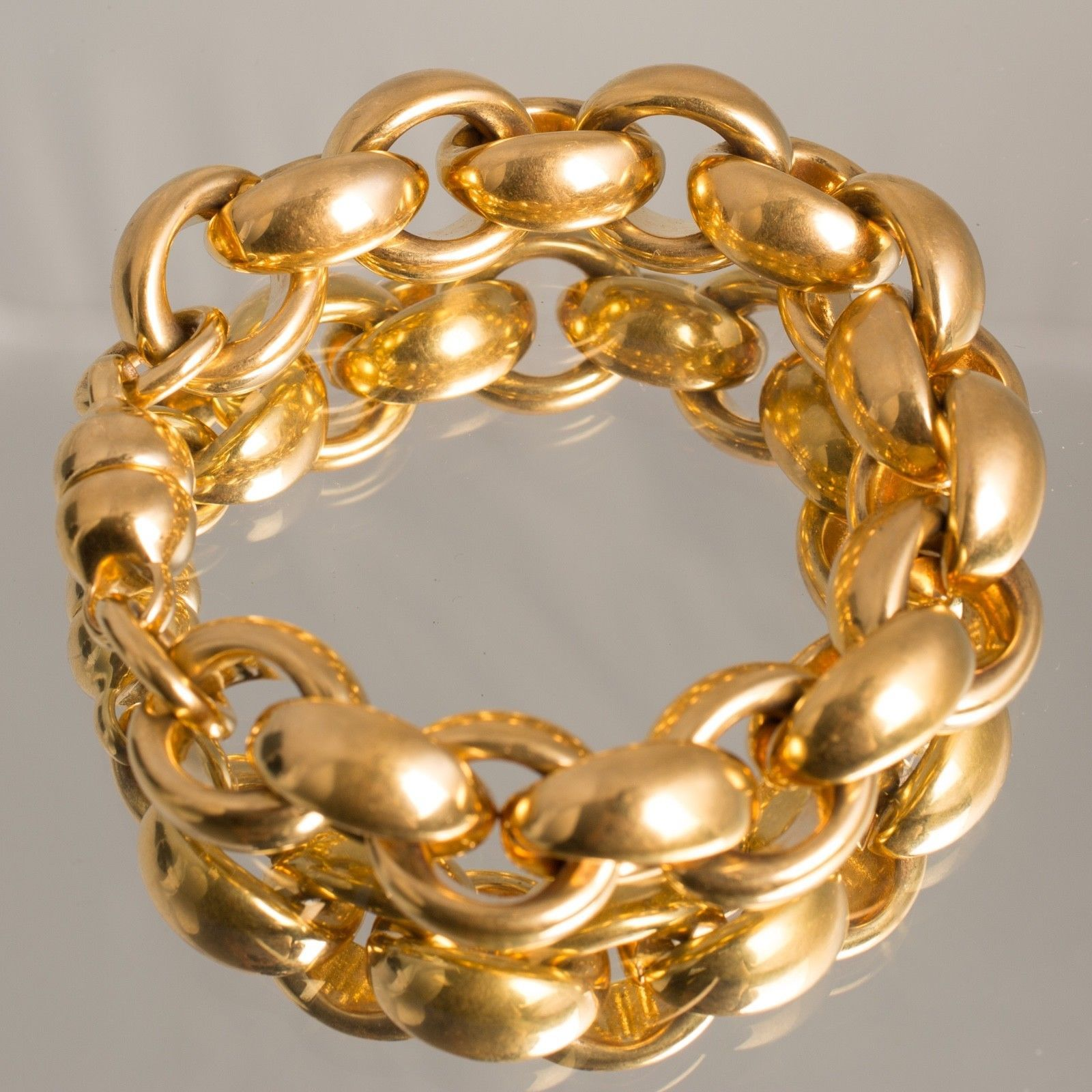 K yellow gold resin milor italian large chain link thick