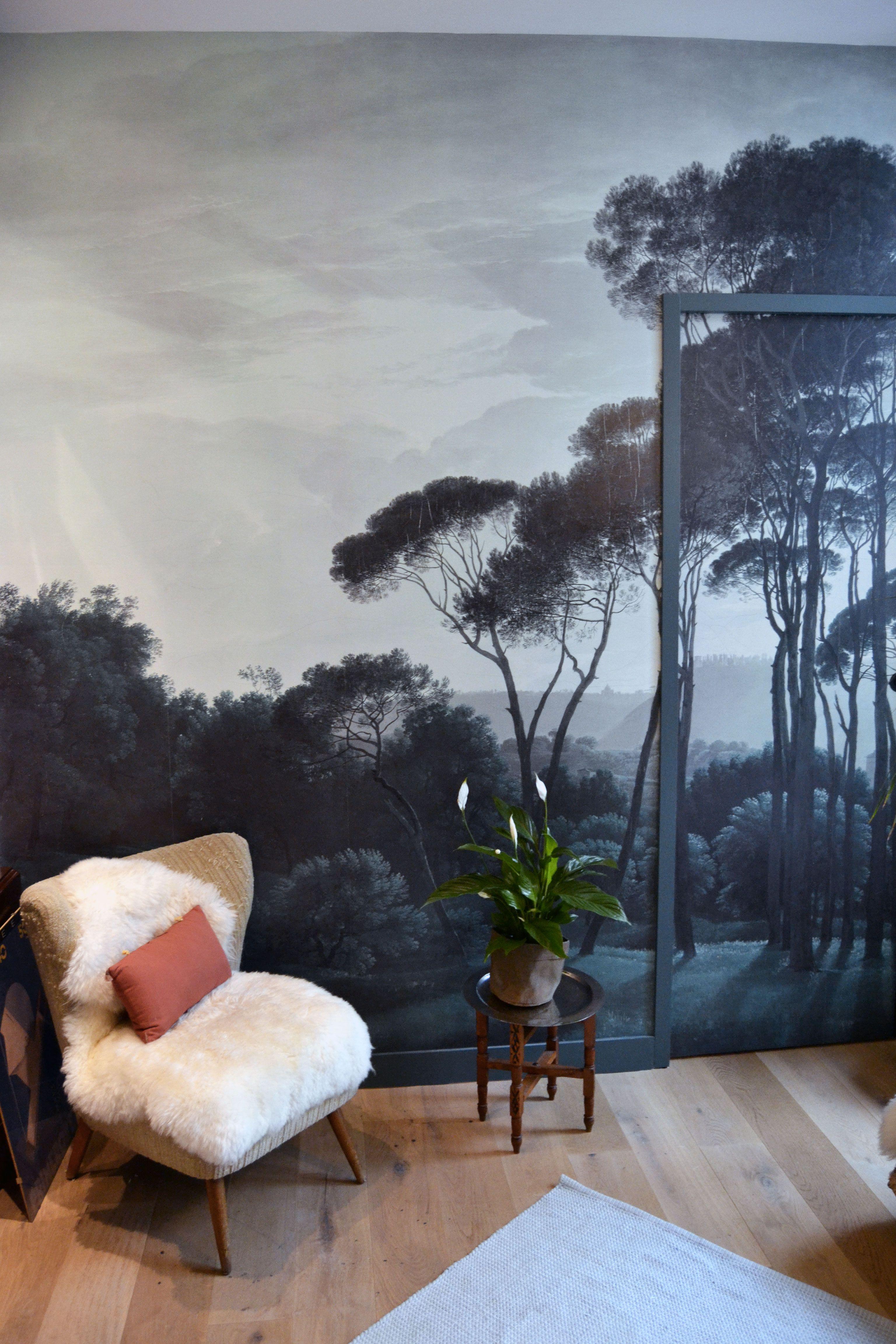 Colle Papier Peint Intissé Chantemur notre décor mural sur mesure pine trees dans un petit salon