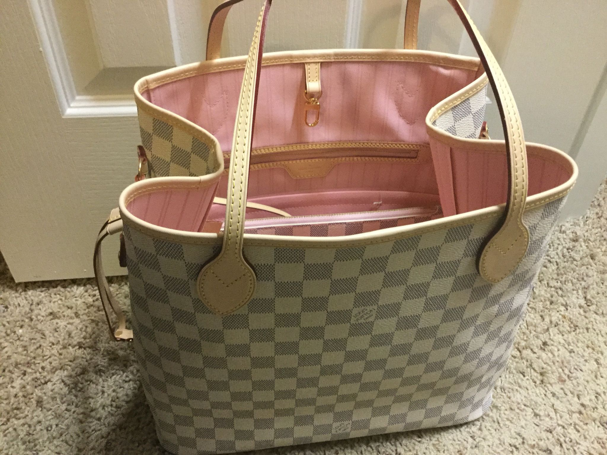 1f4043159e0e Louis Vuitton Damier Azur Neverfull with Rose Ballerine interior ...