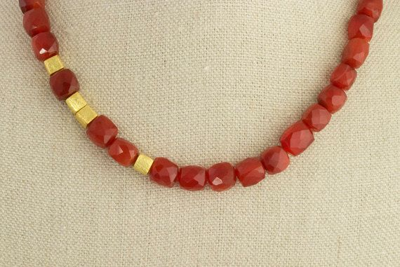 Carnelian and Gold Necklace Red Vermeil Holiday by NIKJewelry