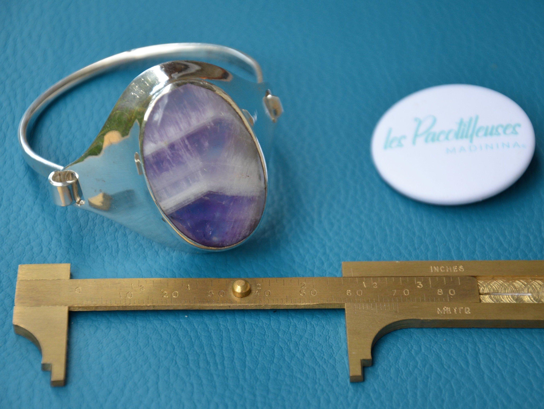 Jonc Amethyste et argent  - Vintage armband circa 1974 - Amethyst on silver 800/1000 - bracelet argent et pierre naturelle