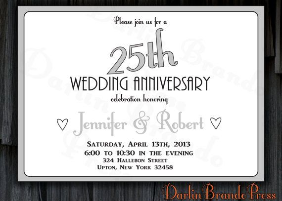 25th Wedding Invitations: 25th Wedding Anniversary Invitation By DarlinBrandoPress