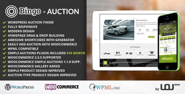 Themeforest Bingo Auction Wordpress Theme Free Download Auction Themes Wordpress Theme Wordpress Theme Portfolio