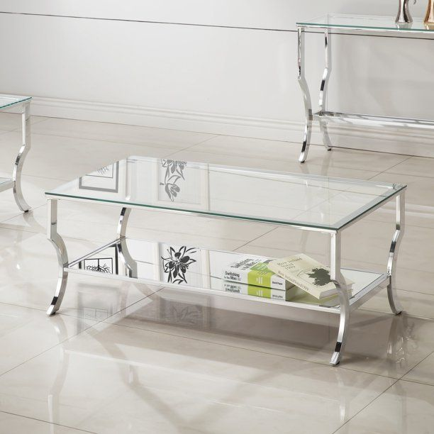 Coaster 720338-CO Glass Top Coffee Table, Chrome - Walmart.com