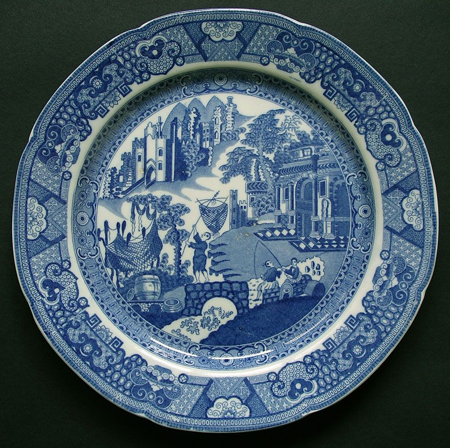 English Pearlware Pottery Fisherman And Castle Pattern