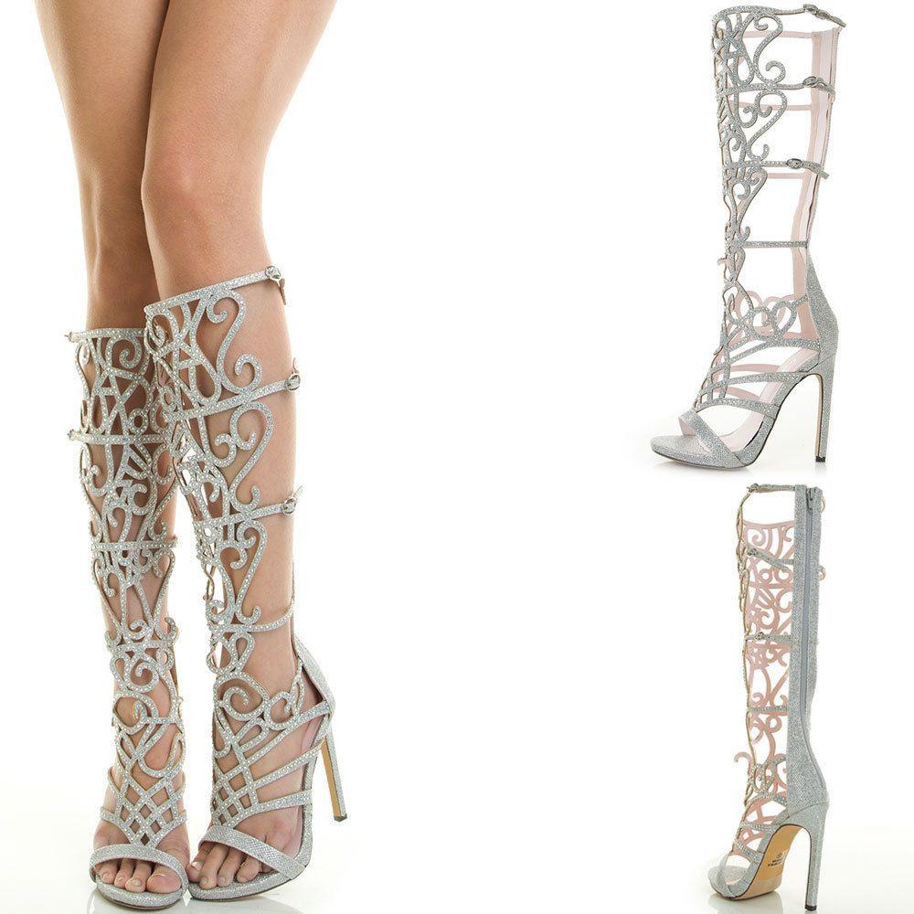 ea8bdf8f0195e4 Sexy Open Toe Rainbow Rhinestone Crystal High Stiletto Heel Dress Pump  Sandal US  Celeste  Stilettos