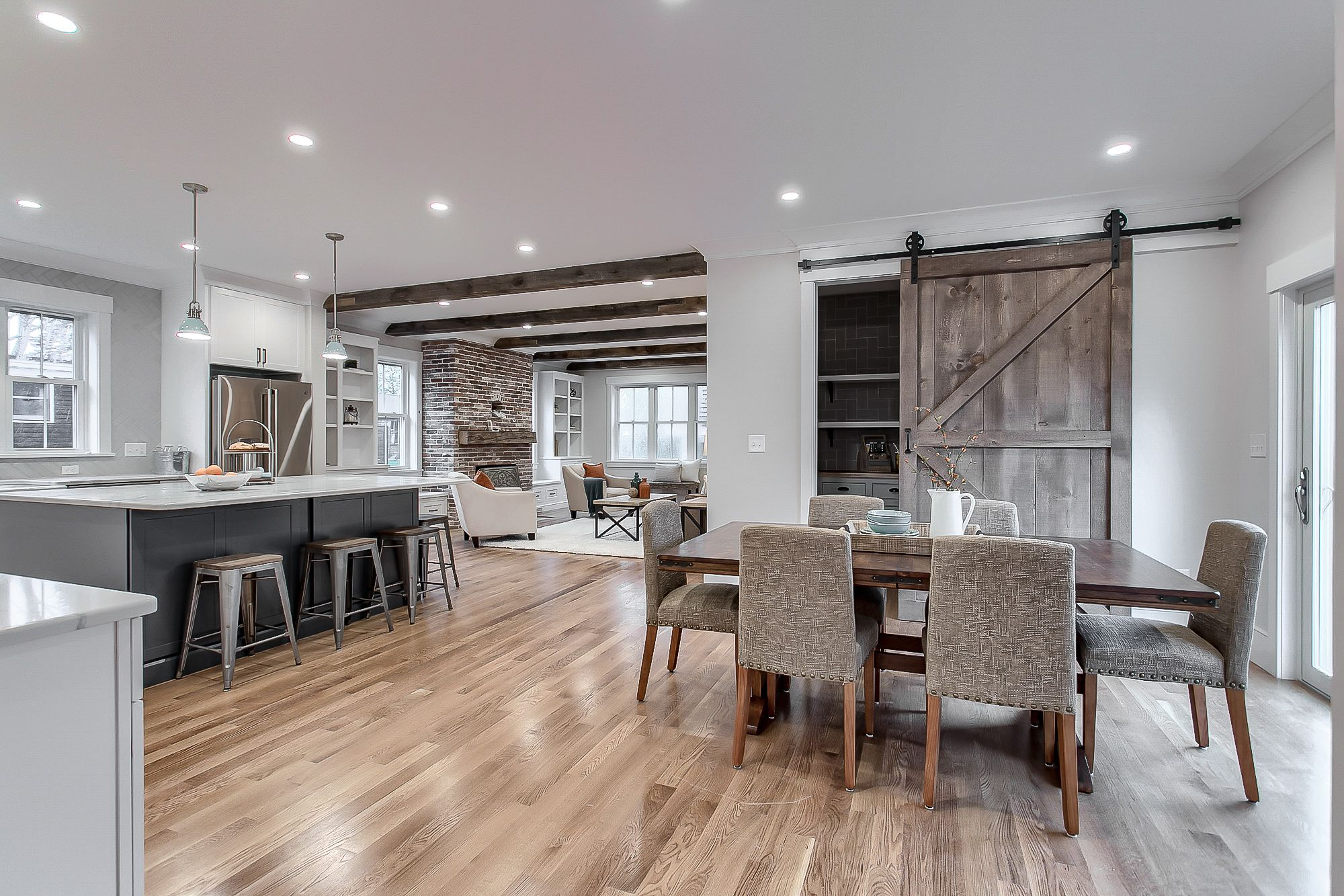 open concept from the dining to the living room this is