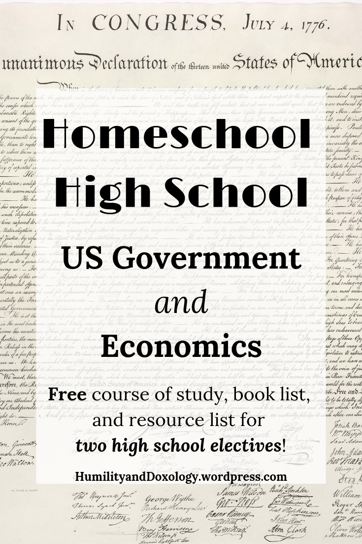 Homeschool HIgh School US Government and Economics Free Curriculum Plan, Electives, Course of Study, Book List