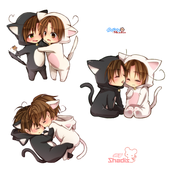 Render chibi couple neko - Hybrids - Fantasy - PNG cutout ...