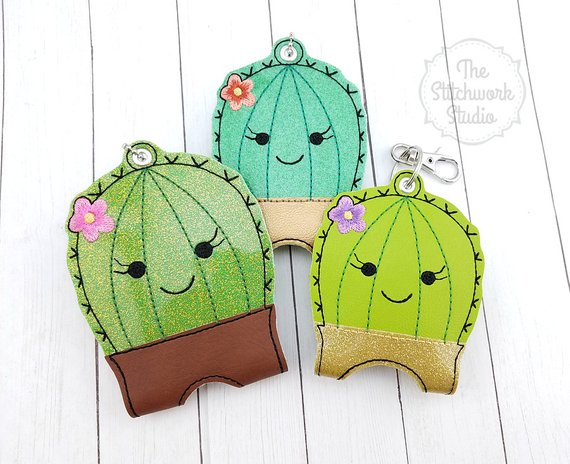 Cactus Hand Sanitizer Holder Sanitizer Case Travel Keychain