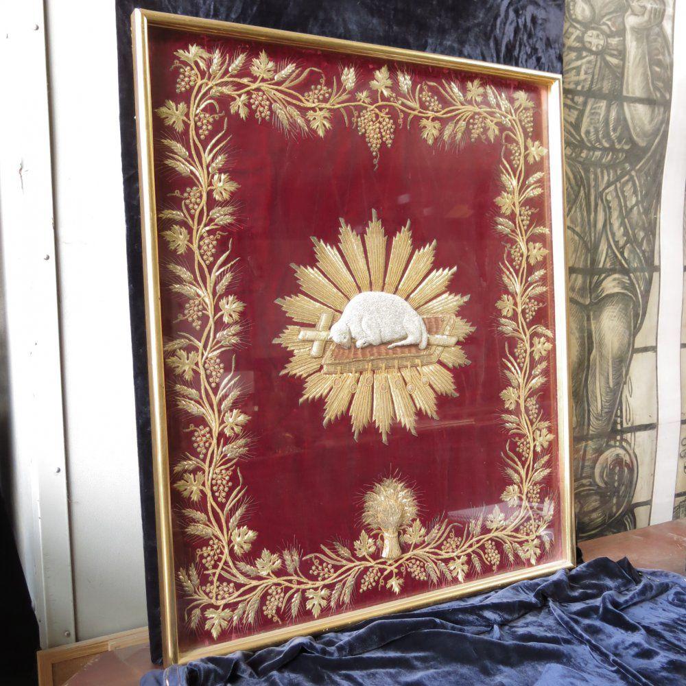 Lamb of god resplendent on starburst bible framed section