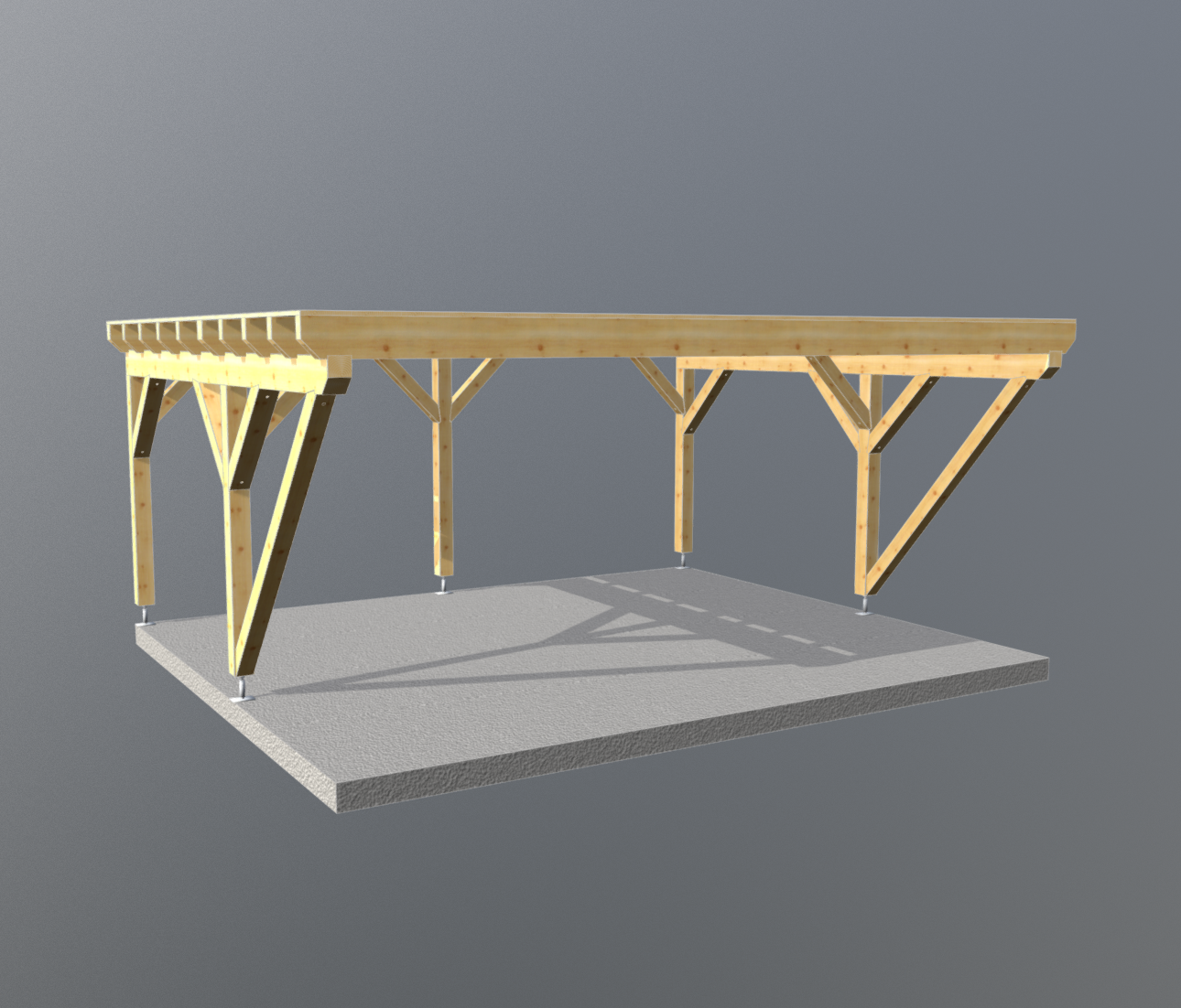 Holz carport 6m x 5m flachdach, carports aus polen