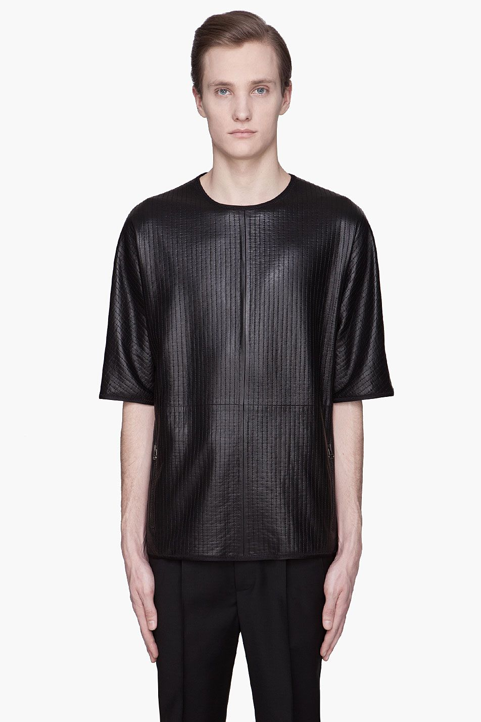 Black quilted t shirt - Lanvin Black Quilted Lambskin T Shirt