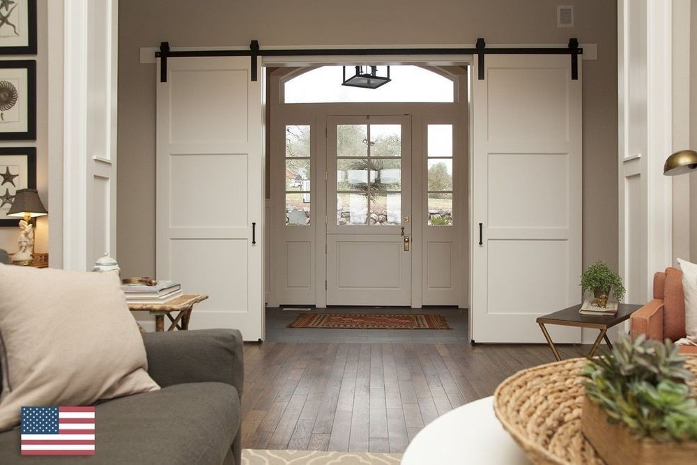 Country Double Sliding Barn Door Hardware System Track Kit Sliding Barn Door Hardware Barn Door Designs French Doors Interior