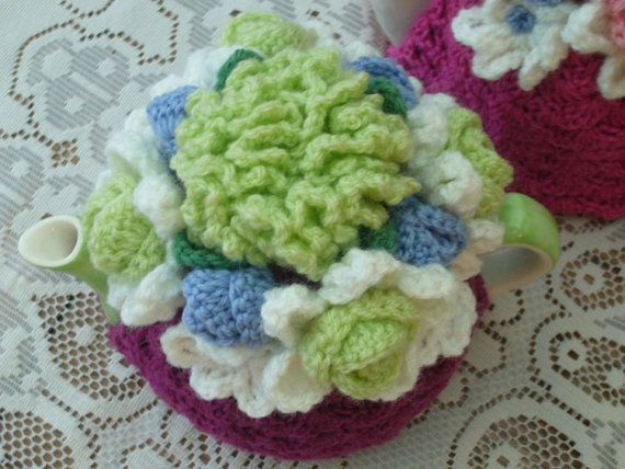2Cup Crochet Tea Cosy/Cosie/Cozy Plum with by andrealesleycrochet