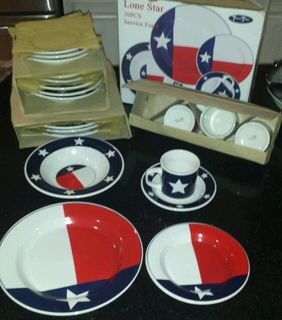 Totally Today Texas Flag Lone Star Vintage Retired 20 PC Dinnerware Set China & Totally Today Texas Flag Lone Star Vintage Retired 20 PC Dinnerware ...