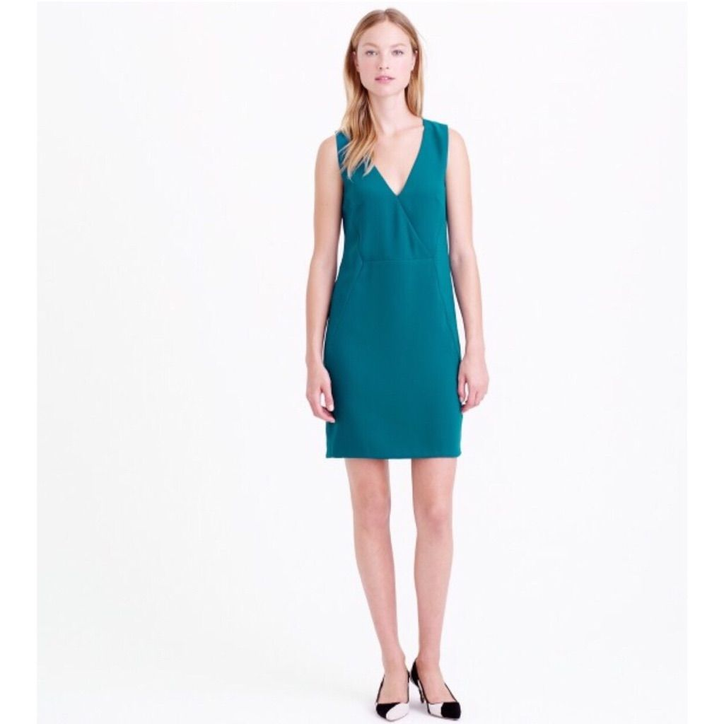 J Crew Green Crepe Crossover Holiday Party Dress | Products