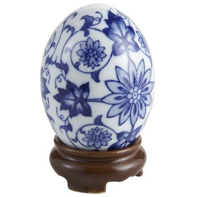 For Our Blue Guestroom Collectible Blue Egg With Stand Blue And White China Sculptures Egg Art