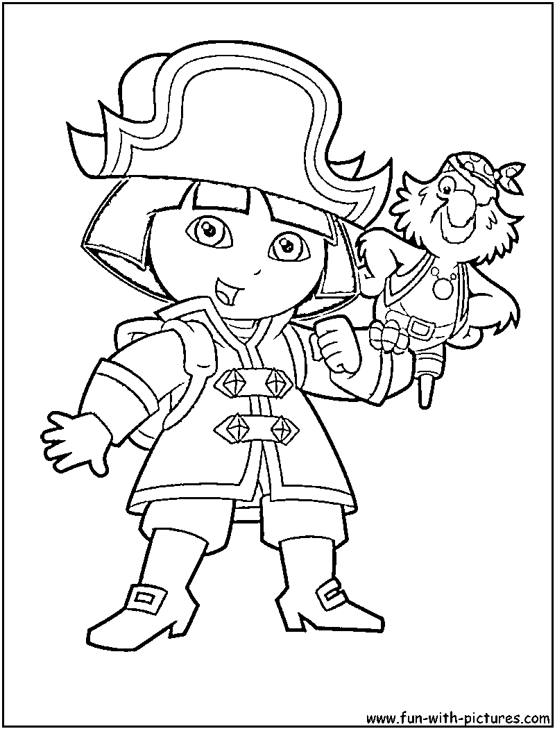 Pirate Dora Coloring Page