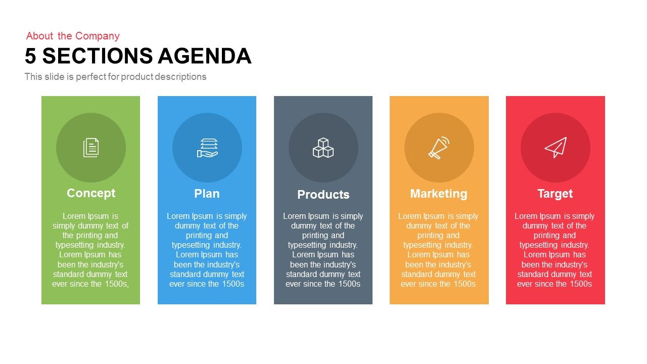 5 Sections Agenda Powerpoint And Keynote Template  Cool Agenda Templates