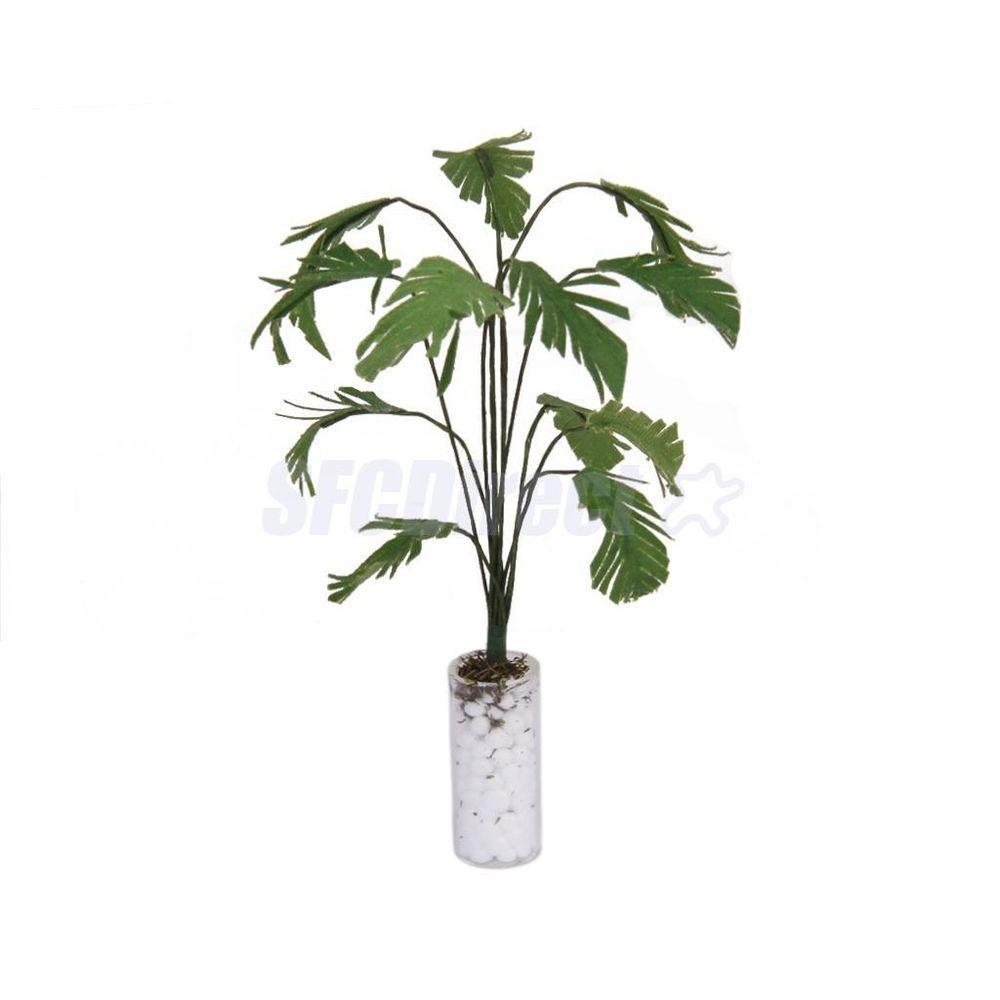 1//12 Miniature Green Plant in White Pot for Dollhouse Garden Accessory Decor
