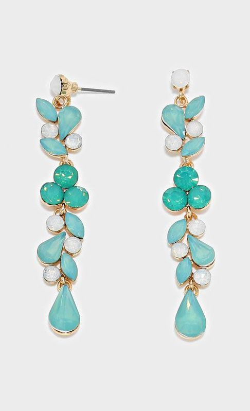 Crystal Juniper Earrings in Mint Iridescence