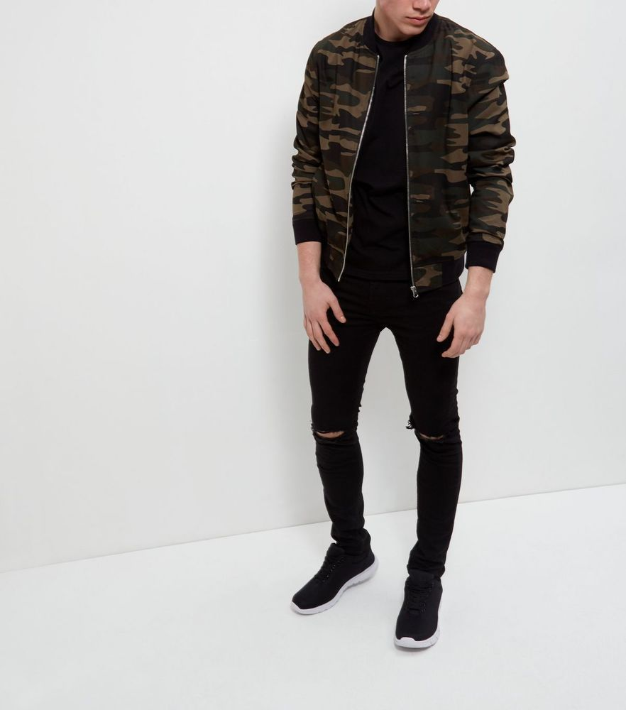 Men s Camo Military Dark Green Bomber Jacket BNWT - Sold Out - Trusted  Seller  NewLook cba5ef1fb2