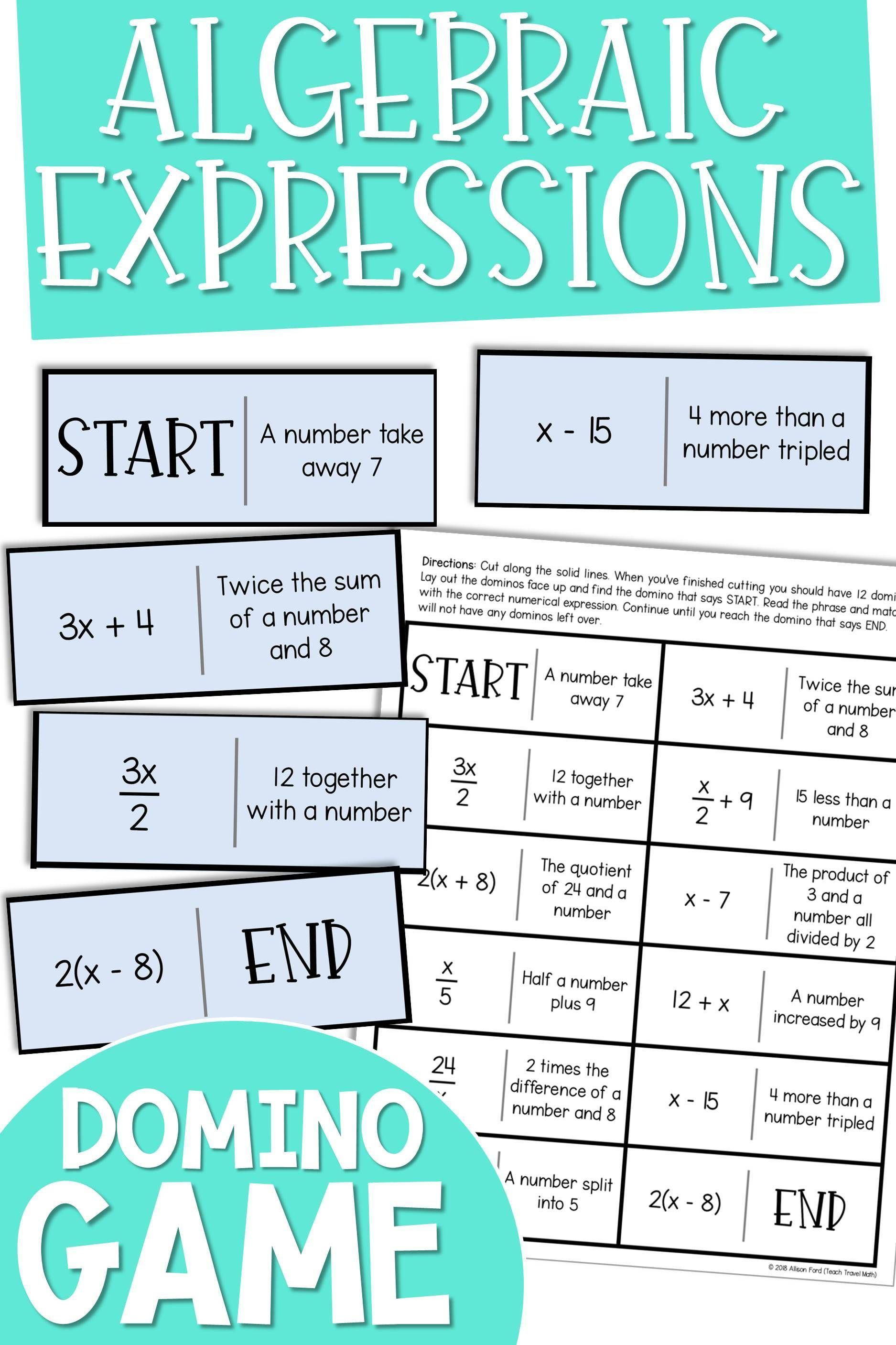 Algebraic Expressions Domino Game In With Images
