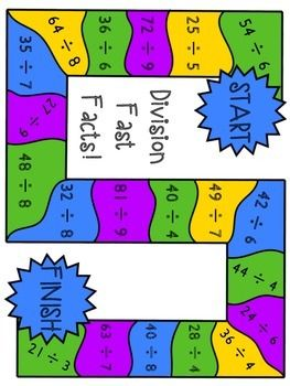 Multiplication And Division Board Games Math Division