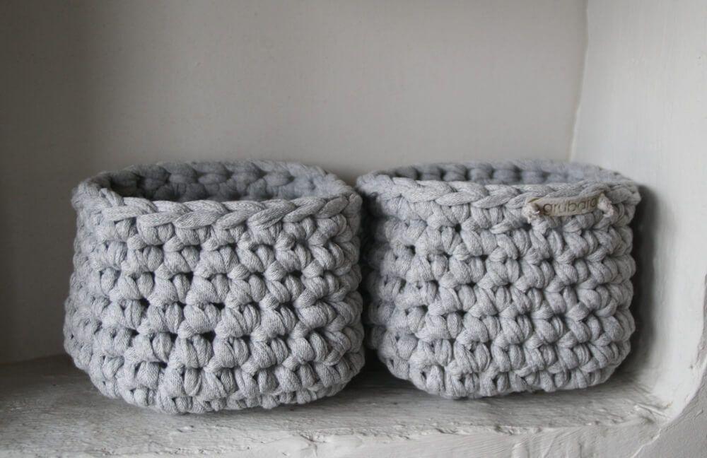 Zwei Kleine Körbchen Aus Bändchengarn Crochet Crafts Bebeenfant