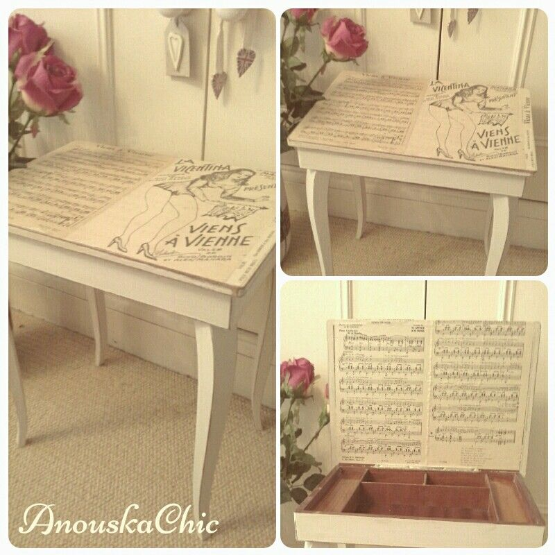Available now at www.anouskachic.co.uk beautiful 1950s working music table with original vintage french music sheets from a book shop in france xx