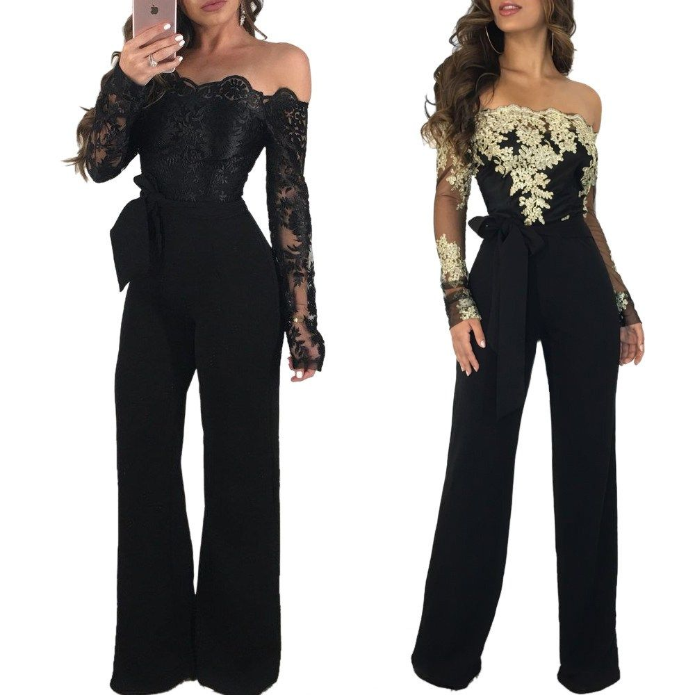 47aaff1793a6 Lace Patchwork Jumpsuit Women Sexy Off Shoulder Slash Neck Long Sleeve  Women Jumpsuit Elegant Slim Wide Pants Jumpsuit