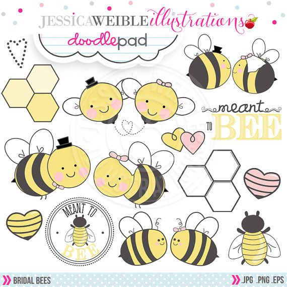 Bridal Bees Cute Digital Clipart For Commercial Or Personal Use Bee Wedding Clipart Wedding Bee Graphics Clip Art Digital Clip Art Bee Clipart