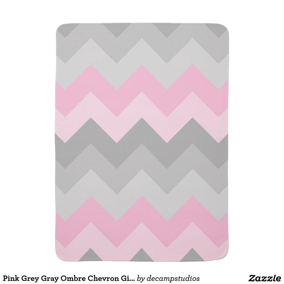 Pink Grey Gray Ombre Chevron Baby Girl Nursery Stroller Blanket