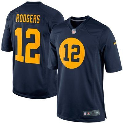 Nike Aaron Rodgers Green Bay Packers Throwback Limited Jersey - Navy Blue