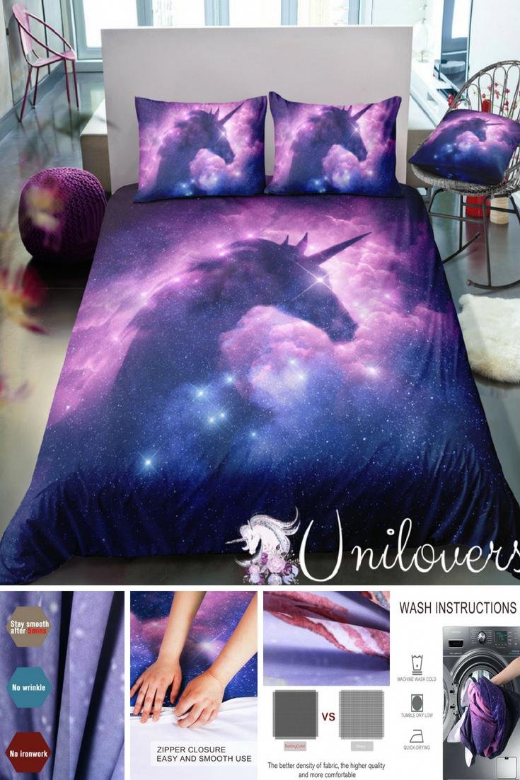 Galaxy Unicorn Duvet Cover, Comforter, Bedding Set