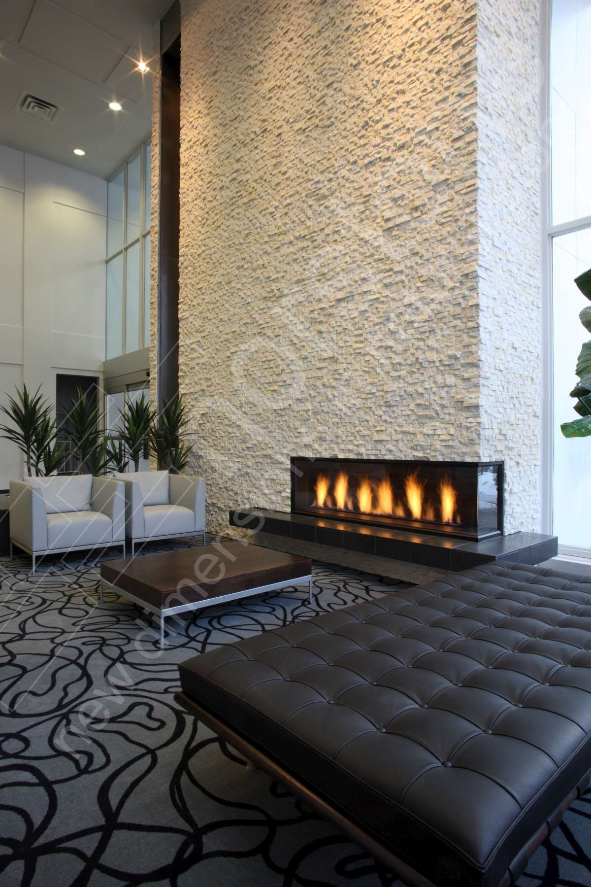 Remarkably Simple And Cost Effective Norstone Natural Stone Wall Tiles Offer High End Design And Styl With Images Modern Fireplace Stacked Stone Fireplaces Home Fireplace