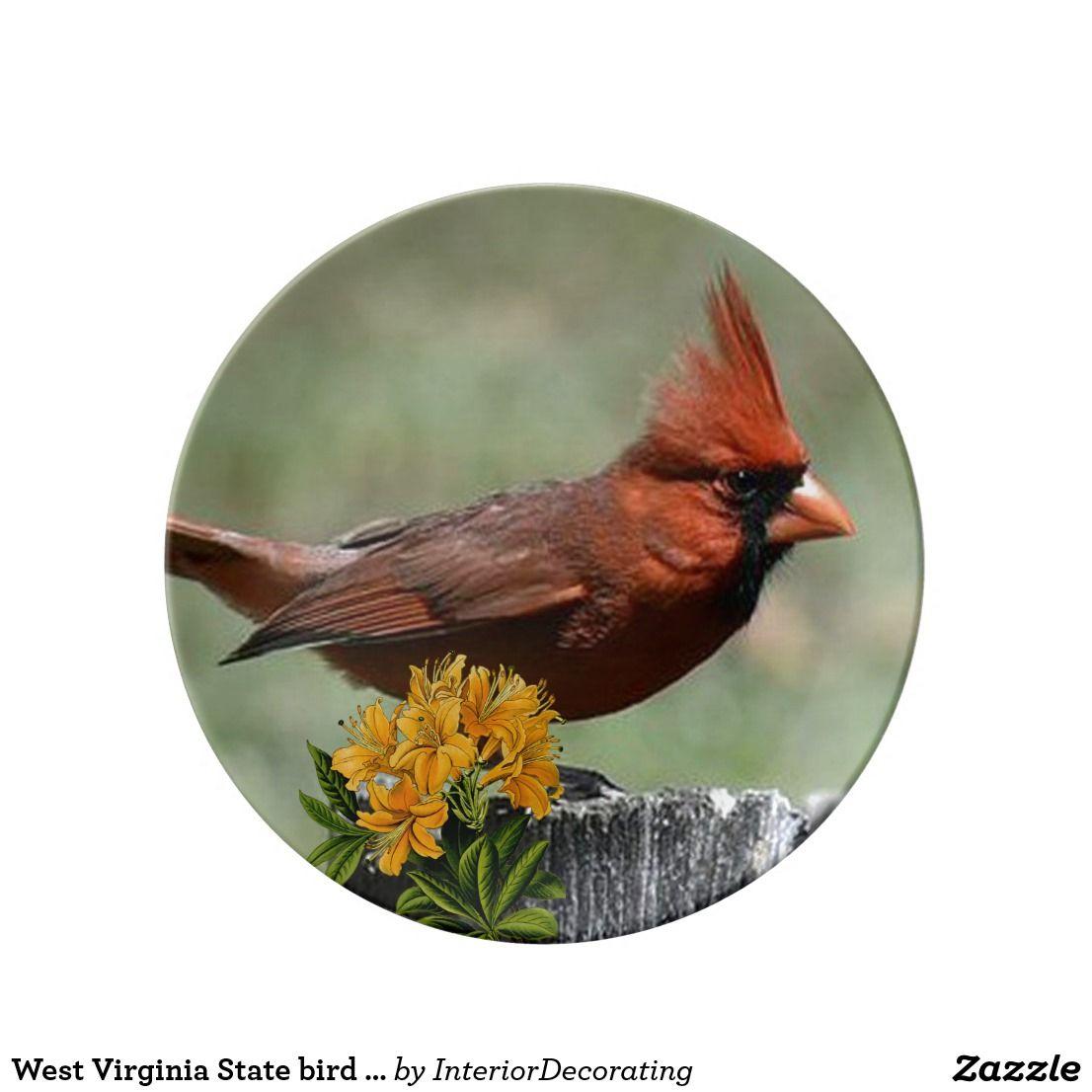 West Virginia State Bird And Flower Dinner Plate
