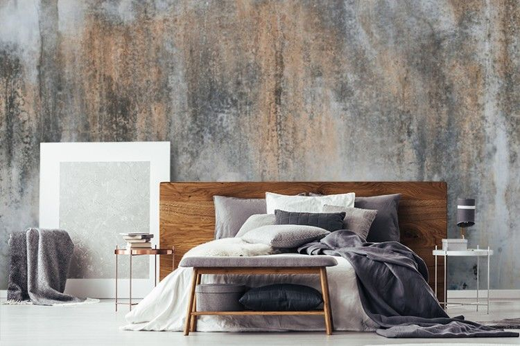Courtesy Of Wallsauce Com Feature Wall Bedroom Wallpaper Bedroom Feature Wall Concrete Wallpaper