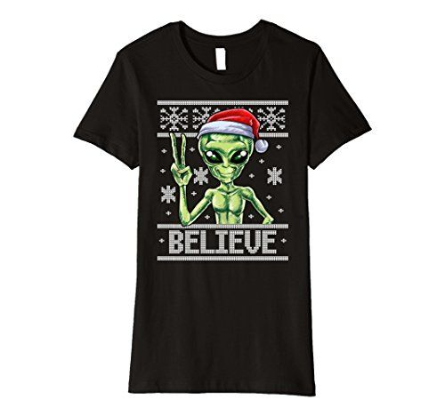 womens alien believe ugly christmas sweater t shirt santa hat x mas xl black ugly christmas sweater alien you can get additional details at the image
