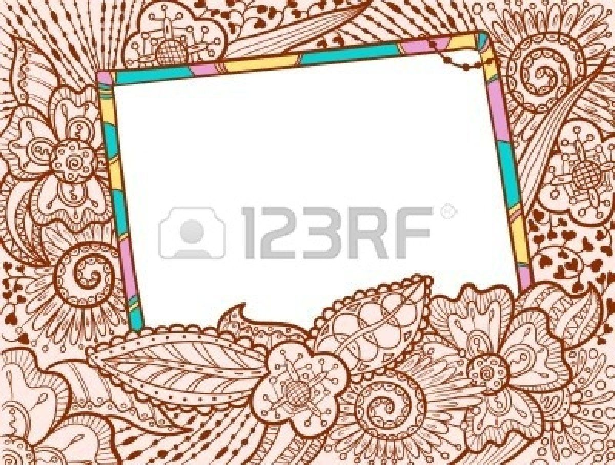Hand drawn doodle color frame decorate by floral ornament stock