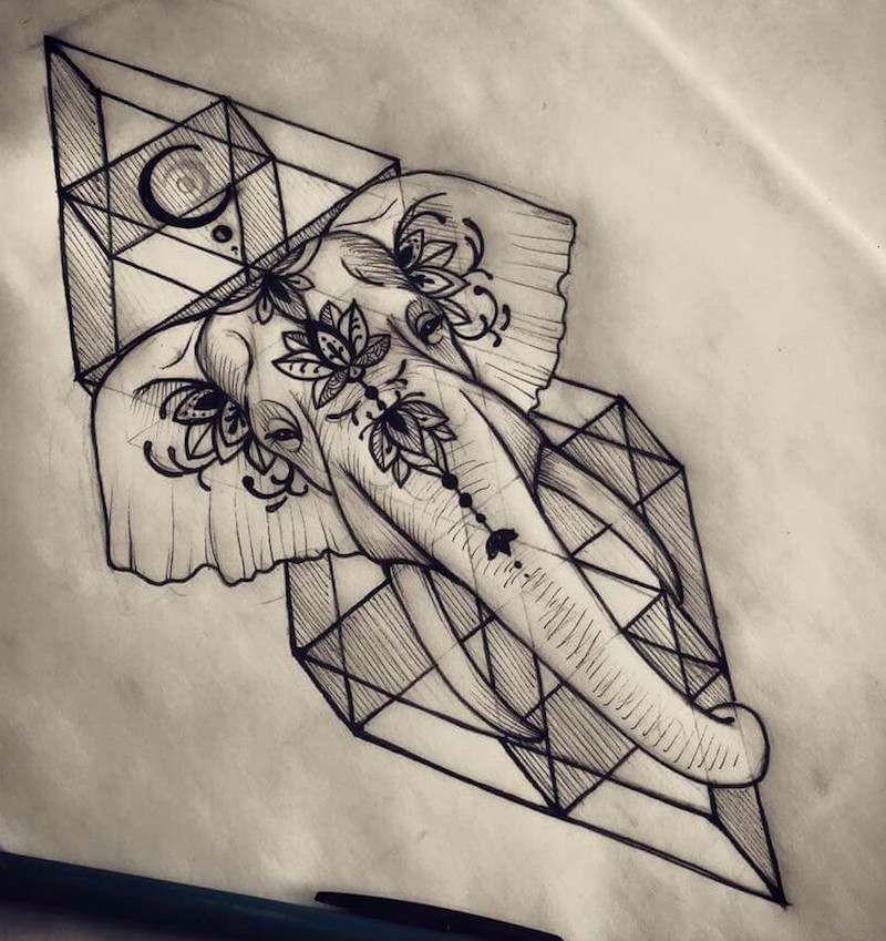 dessin-tatouage-géométrique-éléphant | tattooidee | pinterest